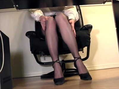 fingering  nylons  office  old and young  secretary