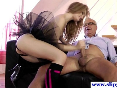 amateur   dick   lingerie   old and young   old man   sucking